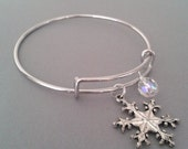 Snowflake Charm Bangle Bracelet