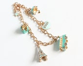 Turquoise Light Blue Vacation Gold Charm Bracelet