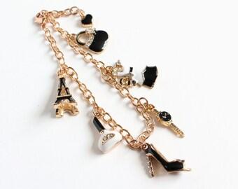 Black White Fashion Gold Charm Bracelet