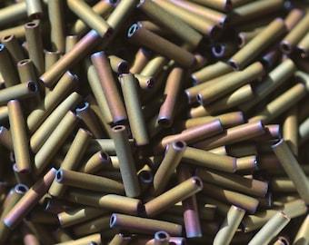 10 Grams of 9 mm Matte Iris Brown TOHO Bugle Beads (TH299)