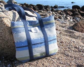 Women's Small Purse, Boho Chic Tote Bag, Beach Cottage Chic Bag, Coastal Nautical Summer Hand Bag, Rustic Woven Sea Glass Blue Green Purse