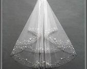 Two Tier Veil, Two Layer Veil, Sequin Bridal Veil, Sequin Wedding Veil, Sequin Trim Veil, Fingertip Crystal Veil, Wedding Comb Veil