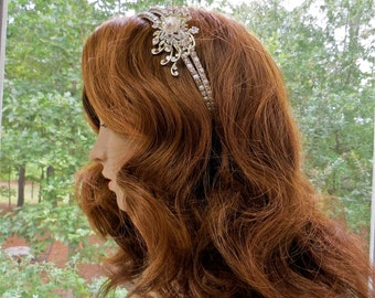 Double Rhinestone Headband, Double Bridal Headpiece,  Rhinestone Bridal Tiara, Rhinestone Wedding Headpiece,  Wedding Bridal Headband