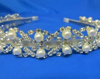 Pearl Rhinestone Headpiece, Pearl Rhinestone Headband, Pearl Rhinestone Comb, Pearl Bridal Comb, Pearl Bridal Headpiece