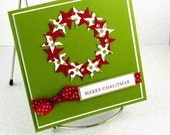 Christmas Card Handmade Holiday Wreath of Stars Green and Red Merry Christmas Square Xmas Card