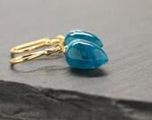 Bright Blue Earrings , Tear Drop Earrings , Apatite Earrings , Gemstone Drops , Fine Jewelry , Dangle Earrings , Gift For Her , Amy FIne