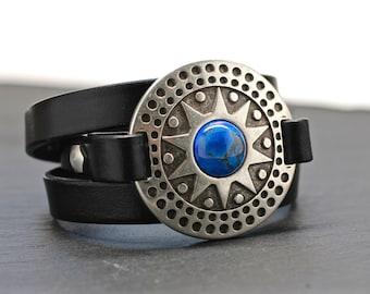Leather Wrap Bracelet ,Turquoise Bracelet , Boho Wrap , Large Bracelet , Silver Bracelet , Leather Bracelet , Statement Bracelet ,  Amy Fine