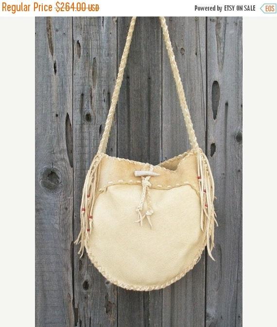 ON SALE Leather drum bag ,   Buckskin leather crossbody bag ,    Handmade leather tote ,  Gypsy  handbag , Leather handbag