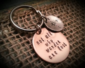 Sterling Silver Not All Who Wander Are Lost Key Chain on a Base Metal Split Ring