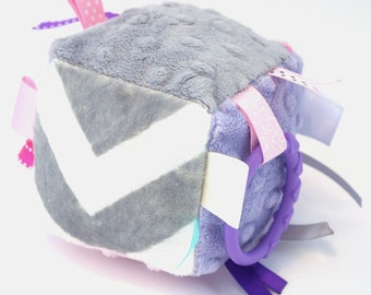 Lavender and Gray- Chevvron Sensory Play Cubbie- Developmental Toy with ribbon and crinkle crackle sewn inside- lavender, pink, gray