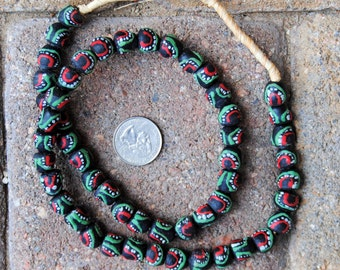 Krobo Beads: Black/Green/Red- Round (10mm)