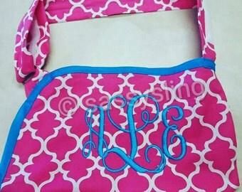 Hot Pink Quatrefoil Child arm sling with monogram