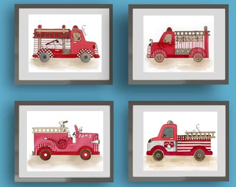 firetruck nursery art, vintage firetruck art prints, fire truck bedding art, children wall art decor, baby boy nursery wall art