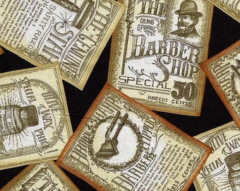 Close Shave Victorian Barber Shop Ads - 1 Yard - More Available - BTY - Sale