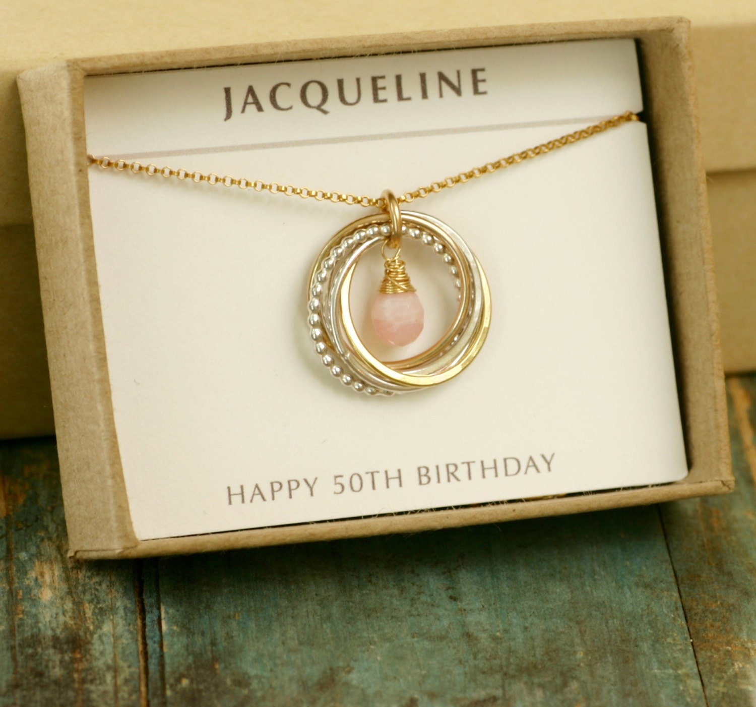 Pink Opal Necklace 50th Birthday Gift For Her Mother