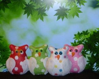 Owl ornaments polka dot felt