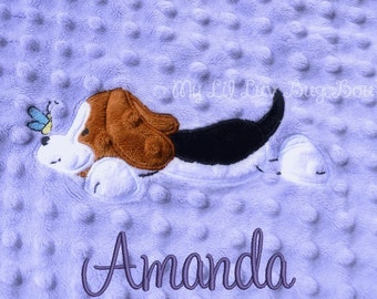 Personalized baby blanket minky- lavender and Jewel purple baby beagle puppy dog - lovey blanket