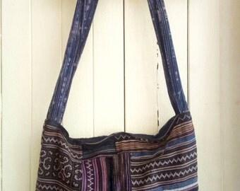 100 percent hemp bag in brown blue and black
