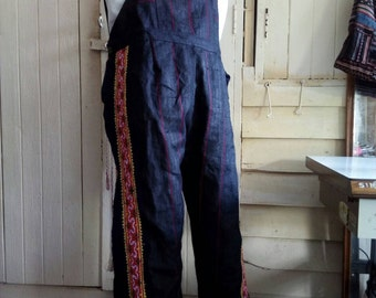 100 percent hemp overall with black batik/embroidery for Men