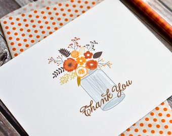 Fall Greeting Card / Fall Flowers Note Cards / Fall Note Cards / Thank You Note Cards / Fall Thank You Notes / Mason Jar Notes