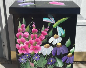 Dragonfly and Butterflies Residential Horizontal mailbox, DAISIES, CONEFLOWERS, Hollyhocks mailbox