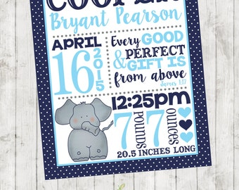Baby Personalized Wall Birth Announcement/Stats - Great Gift - Nursery