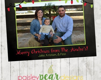 Bright Lights - Chalkboard Christmas Photo Card - Digital File Available