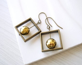 Gold Dangle Earrings, Modern Jewelry, Brass, Geometric, Simple, Contemporary, Hematite Stone, Square, Faceted, Holiday