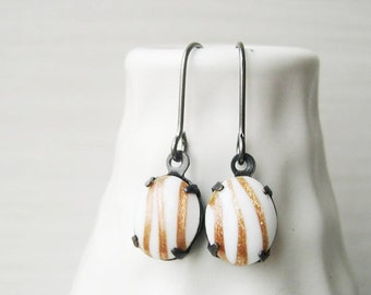 Copper Glitter Earrings, Art Glass Jewelry, Fall, Autumn, White, Titanium Option, Caramel, Brown, Camel, Dangle, Drop, Lampwork, Artsy