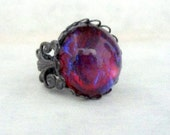 Black Fire Opal Jewelry Dragon Breath Opal Rin Gothic Jewelry Cabochon Ring Gift for Girlfriend Valentines Day Romantic Gifts