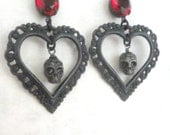 Gothic Earrings Crimson Peak Inspired Romantic Heart and Skull Earrings with Red Czech Glass Accents Gothic Jewelry