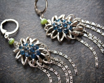 Teal Rhinestone Vintage Assemblage Statement Earrings with Silver Flattened Scroll Link Dangles