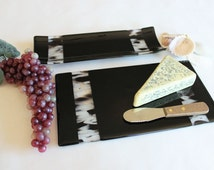 CHEESE BOARD SET - Fused Glass Board, Cracker Tray with Knife, Large Cheese Board, Charcuterie Board, Party Platter, Unique Wedding Gift