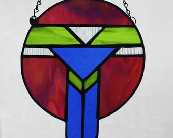 STAINED GLASS SUNCATCHER - Southwest Dreamcatcher, Gift for Her, Southwest Suncatcher, Window Ornament Decoration, Stained Glass Under 25