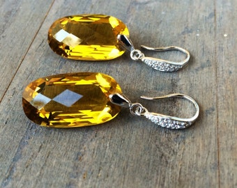 Citrine earrings.  Luxury jewelry.  Pave sterling silver