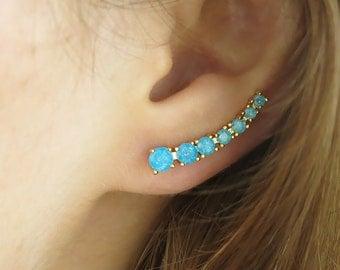 ear cuff,ear climber, aqua blue earring, druzy earrings, ear cuff earring, gold earrings,gold filled climber,teal earrings,blue gold earring