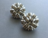 Rhinestone Earrings with Milk Glass Signed Vogue