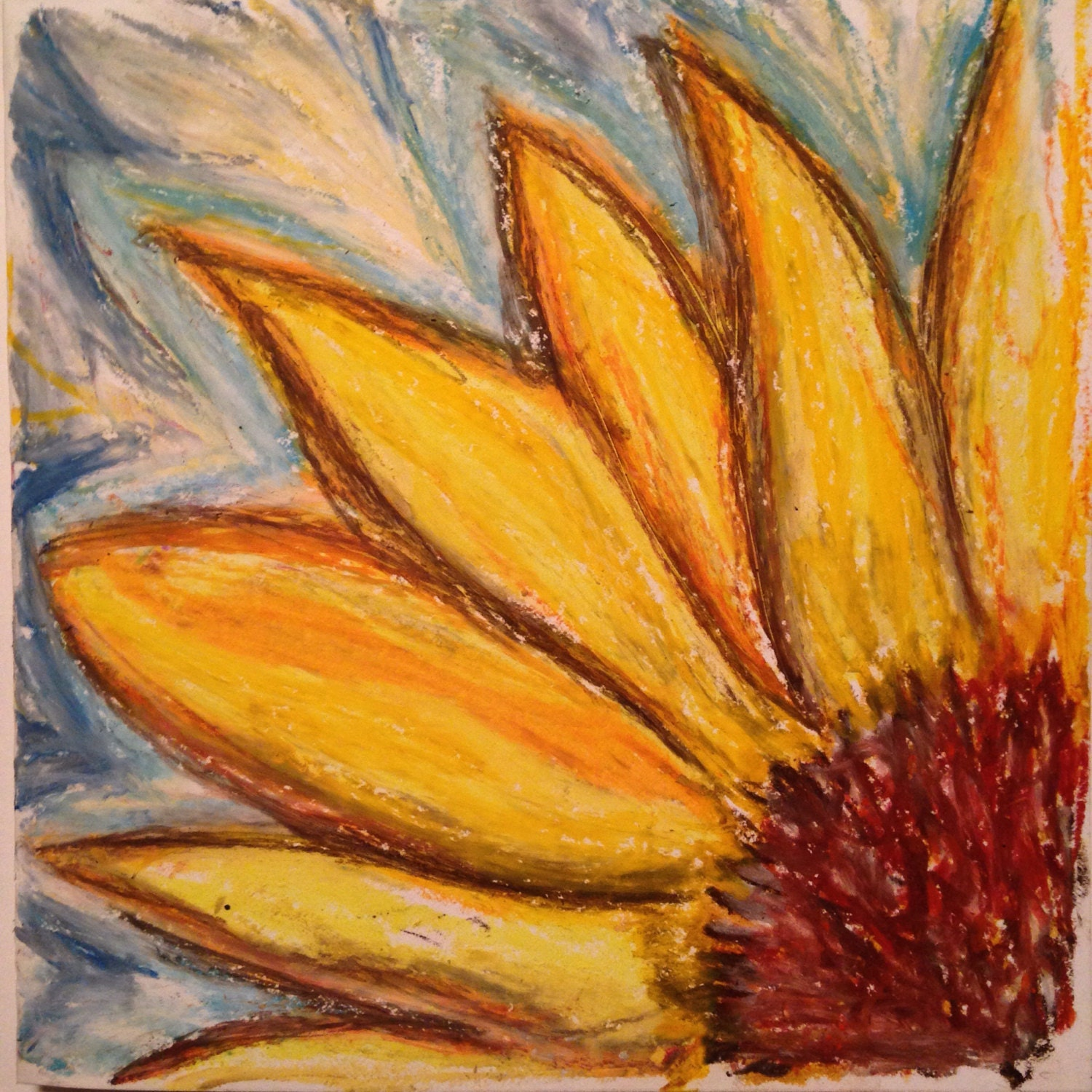 Sunflower Abstract Oil Pastel Original Drawing Painting 6x6