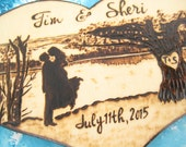 Custom Lake Wedding Cake Topper, Blended Family, Rustic Wood heart, Silhouette cake topper, Tree, Personalized cake topper, Bride and groom