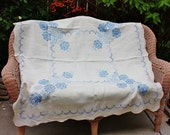 1980's Linen Tablecloth Blue And White Cross Stitch Roses 47 Inch Square Vintage Retro 80's Cottage Chic Floral Hand Embroidered Dining