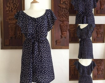 Vintage 80s / Navy Blue / Ruffle / Flutter Sleeve / Day Dress / Medium