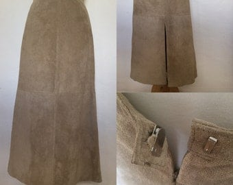 Vintage 90s / Tan / Suede / Leather / Long / Skirt / Large