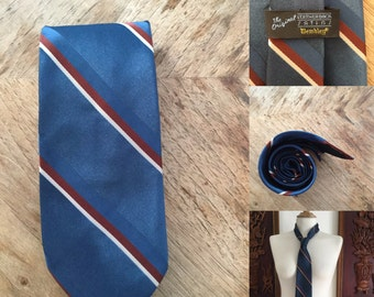 Vintage 70s / Wembly / Blue / Cream / Rust / Striped / Suit Tie