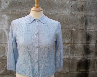ON SALE Vintage 40s 50s Baby Blue Boudoir Pin Up Lace Bed Jacket SMALL