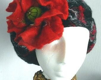 felted woman ART  beret--POPPY---
