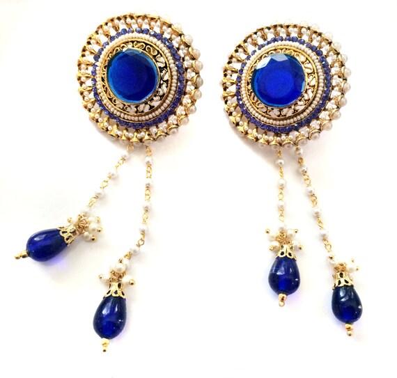 KASHMIRI Earrings,Pearl & Royal blue Kundan kashmiri Chandelier Earrings,wedding Jewellery,Indian Jewellery by TANEESI