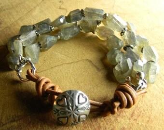 Tribal Jewelry Southwestern Labradorite Bracelet Sterling Silver Gray Rustic Leather