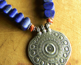 Tribal Jewelry Repousse Pendant Necklace Blue Lapis Lazuli Sterling Silver Red Jasper