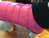 Waterproof Pink Quilt Sherpa Lined Small Dog Harness Jacket
