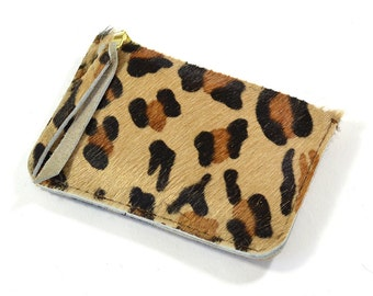 Leopard print Hair On Hide Leather Zip Pouch Purse Wallet Handmade